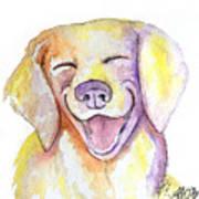 Happy Yellow Dog Art Print