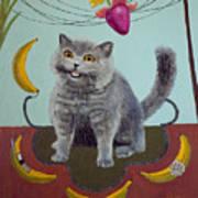 Happycat Can Has Banana Phone Art Print