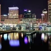 Harbor Nights In Baltimore Art Print