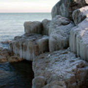 Harbor Rocks In Ice Art Print by Kathy DesJardins