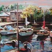 Harbor Sailboats At Rest Art Print
