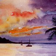 Harbor Sunset Kauai Hawaii Art Print