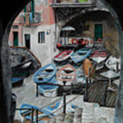 Harbor's Edge In Riomaggiore Art Print