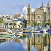 Harborside Msida Malta Art Print