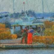 Hard Work At Lobster Dock Boothbay Harbor Maine Art Print