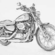Harley Davidson 1200 Custom Art Print