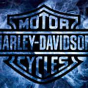 Harley Davidson Logo Blue Art Print