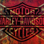 Harley Davidson Logo Confederate Flag Art Print