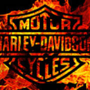 Harley Davidson Logo Flames Art Print