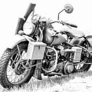 Harley Davidson Military Motorcycle Bw Art Print