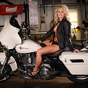 Harley Davidson Motorcycle Babe Art Print