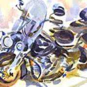 Motorcycle In Watercolor Art Print