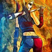 Harley Quinn Spicy  - Van Gogh Style -  - Da Art Print