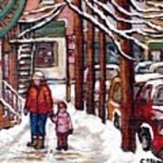 Canadian Winter Scene Paintings Original Art Verdun Montreal Achetez Scenes De Rue Quebec C Spandau  Art Print