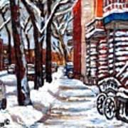 Canadian Winter Scene Paintings Original Art Verdun Montreal Achetez  Paysages De Quebec C Spandau Art Print
