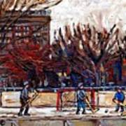 Paysages De Quebec Petits Formats A Vendre Hockey Rink Paintings Psc Original Montreal Street Scenes Art Print