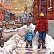 Original Montreal Street Scene Paintings For Sale Winter Walk After The Snowfall Best Canadian Art Art Print