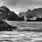 Harris Beach Oregon Monochrome Art Print