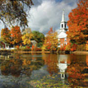 Harrisville New Hampshire - New England Fall Landscape White Steeple Art Print