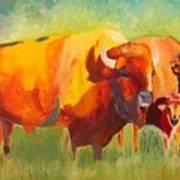 Hartsel Bison Family In Springtime Art Print
