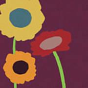 Harvest Flowers Purple- Art By Linda Woods Art Print