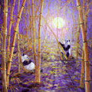 Harvest Moon Pandas  Art Print