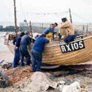 Hastings England Fishermen On Boat Art Print