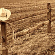 Hat And Lasso On Fence Art Print