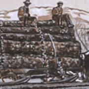 Hauling Logs Historical Vignette Art Print