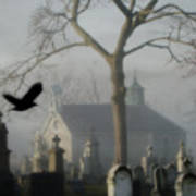 Haunted Halloween Cemetery Art Print