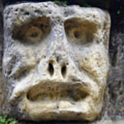 Haunted Stone Heads Art Print