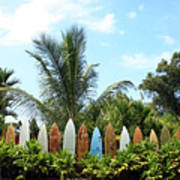 Hawaii Surfboard Fence Print by Michael Ledray
