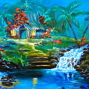 Hawaiian Hut And Waterfalls Art Print