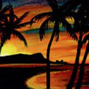Hawaiian Waikiki Sunrise Over Diamond Head  #266 Art Print