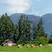 Hay Bales And A Barn - Kalispell Montana Art Print