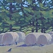 Hay Bales And Crows Art Print