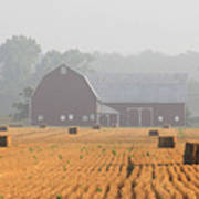 Hay Bales And Red Barn At Sunrise Print by Jack Schultz