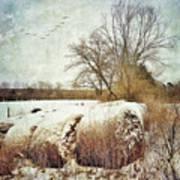 Hay Bales In Snow Art Print