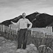 Haymaker With Pitchfork B W Art Print
