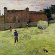Haymaking In Brittany Art Print