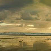 Haystack Sunset Panorama Art Print