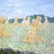 Haystacks The Young Ladies Of Giverny Sun Effect Art Print