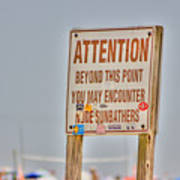 Hdr Sunbather Sign Beach Beaches Ocean Sea Photos Pictures Buy Sell Selling New Photography Pics  Art Print