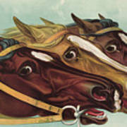Head And Head At The Winning Post Art Print