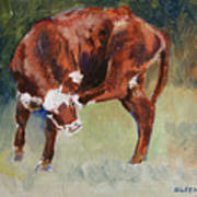 Head-scratching Heifer Pad Art Print