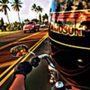 Heading Out On Harley Art Print