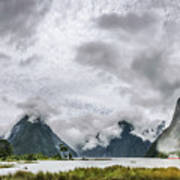 Heads In The Clouds Panorama At Milford Sound Art Print