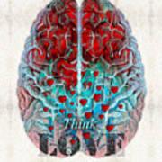 Heart Art - Think Love - By Sharon Cummings Art Print