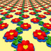 Heart Flowers Art Print