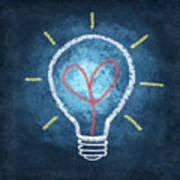Heart In Light Bulb Art Print